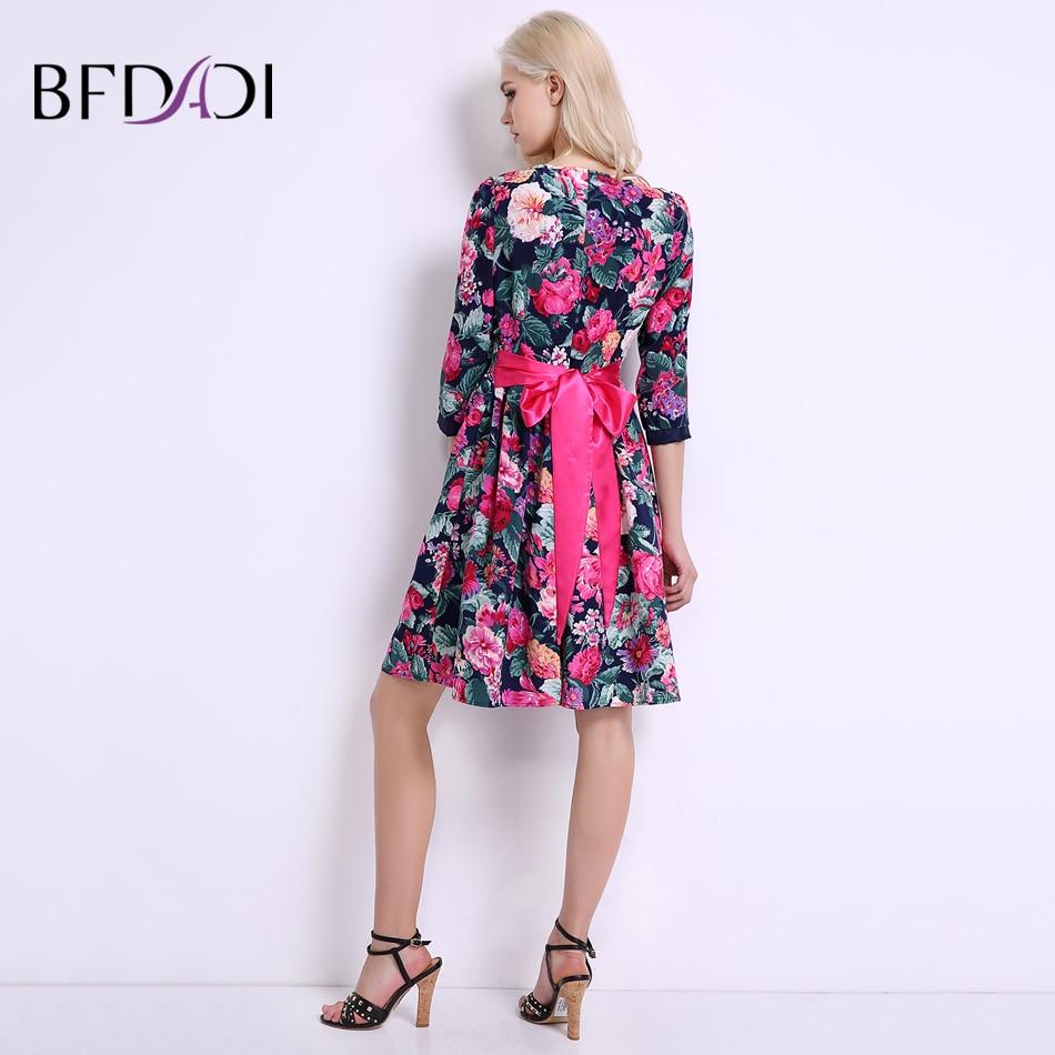 BFDADI 2019 Yaz Kadın Çiçekler Elbise Kemer Elbiseler Ile Tatlı - Bayan Giyimi - Fotoğraf 4