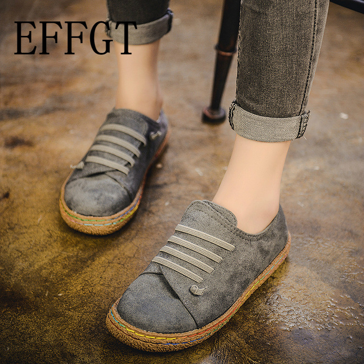 EFFGT New Spring Women Flats Shoes Loafers Round Toe Wide Shallow Slip-on Casual Lady Flats Shoes Oxford Shoes For Women A70