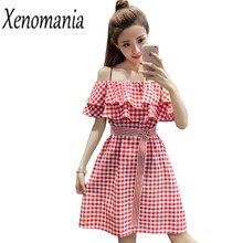 d556ff8b5f Kawaii Dress Korean Ruffle Off Shoulder Dress Plaid Sexy Beach Dresses Women  2018 Cute Sundress Sun Dress Linen Short Cotton Red
