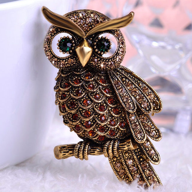 Wonderful Blucome Vintage Owl Brooches For Men Jewelry Shiny Rhinestone Brooch Pin  Women Party Gifts Very Cool Christmas Brooch Bouquet