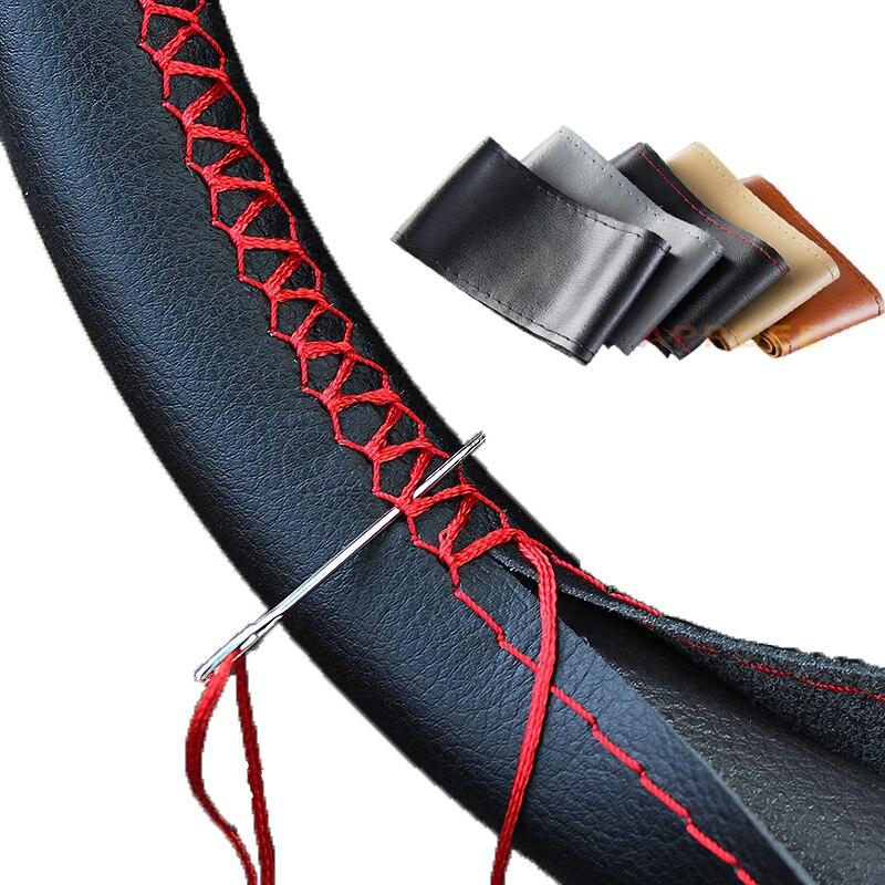 DIY Fundas de volante cuero muy suave trenza en el volante de coche con agujas y hilo Interior accesorios