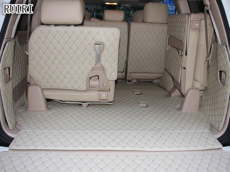 Conjunto completo esteiras tronco + Volta tapete de porta para Toyota Land Cruiser 200 2018-2007 assentos de 7 de carga durável bota forro de tapetes, frete grátis