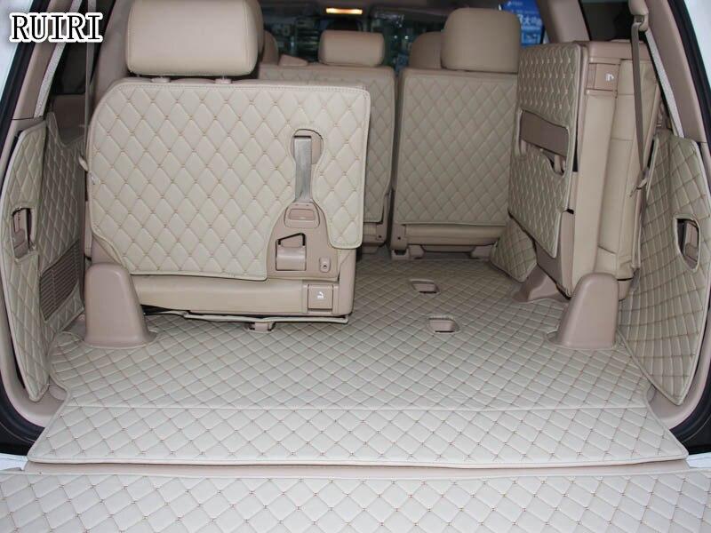 Full set trunk mats + Back door mat for Toyota Land Cruiser 200 2018-2007 7 seats durable cargo liner boot carpets,Free shipping