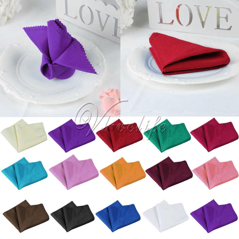30cm x 30cm Wedding Table Napkin Linen Napkin Polyester Handkerchief Cloth for Diner Party Xmas Supply Wedding Favors