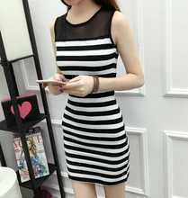 women clothing 2018 spring summer hollow out  Lace stitching sleeveless striped dress female plus big size 3XL