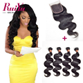 "Brazilian Body Wave With Closure 8""-28"" 4 Bundles With Closure 100% Brazilian Virgin Hair With Closure Human Hair With Closure"