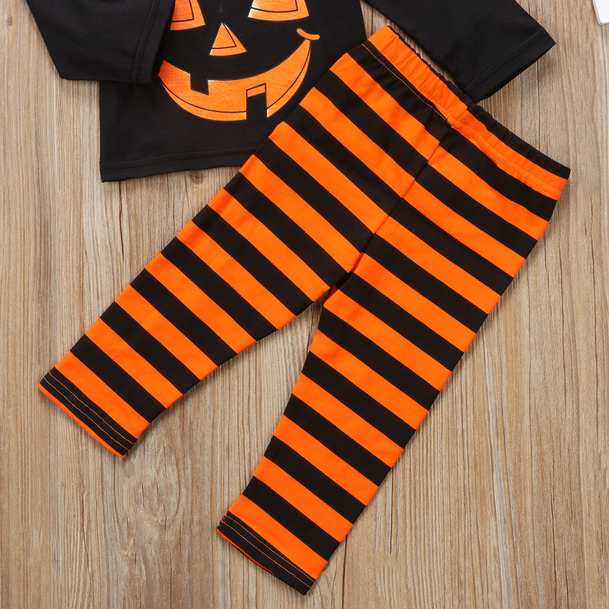 7bc8d718daf Kids Toddler Baby Girl Boy Pumpkin Face T Shirt Tops+Striped Pants Outfit  Pajamas Set Halloween Clothes-in Clothing Sets from Mother   Kids on ...