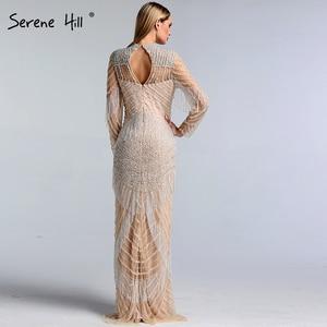 Image 3 - Dubai Luxury Mermaid Tassel Beading Evening Dresses 2020 New Long Sleeves Elegant Sexy Evening Gowns Serene Hill LA6662