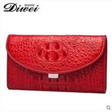 diwei 2017 new hot free shipping women bag real crocodile skin women clutches women hand bag red color day clutches