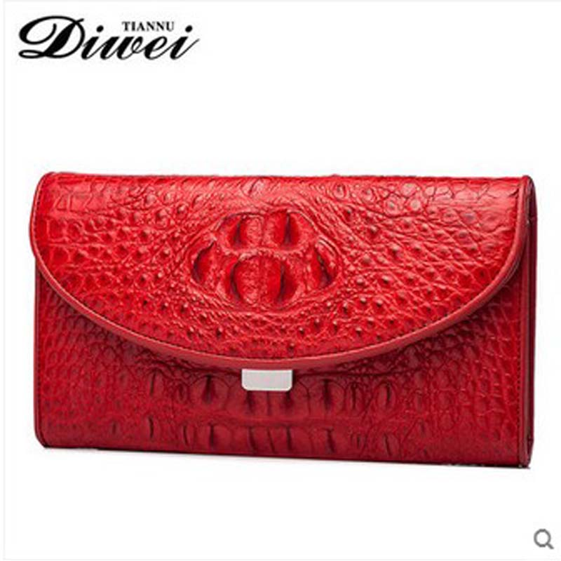 diwei 2018 new hot free shipping women bag real crocodile skin women clutches women hand bag red color day clutches