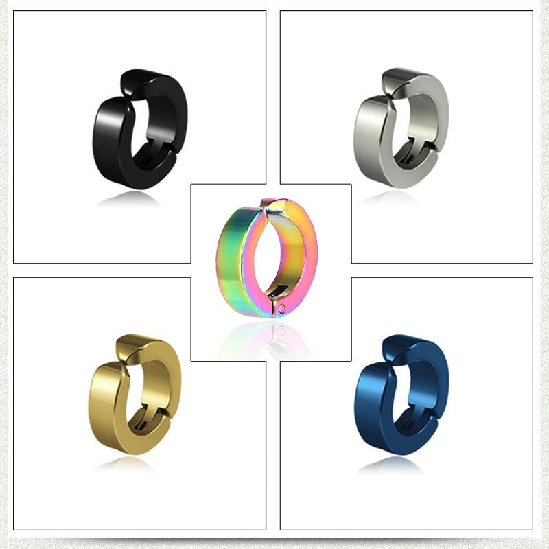 ZMZY-pendientes circulares de acero inoxidable para hombre y mujer, joyería Punk Rock, aretes de Clip de oreja de acero de titanio sin agujero, regalo de boda y fiesta
