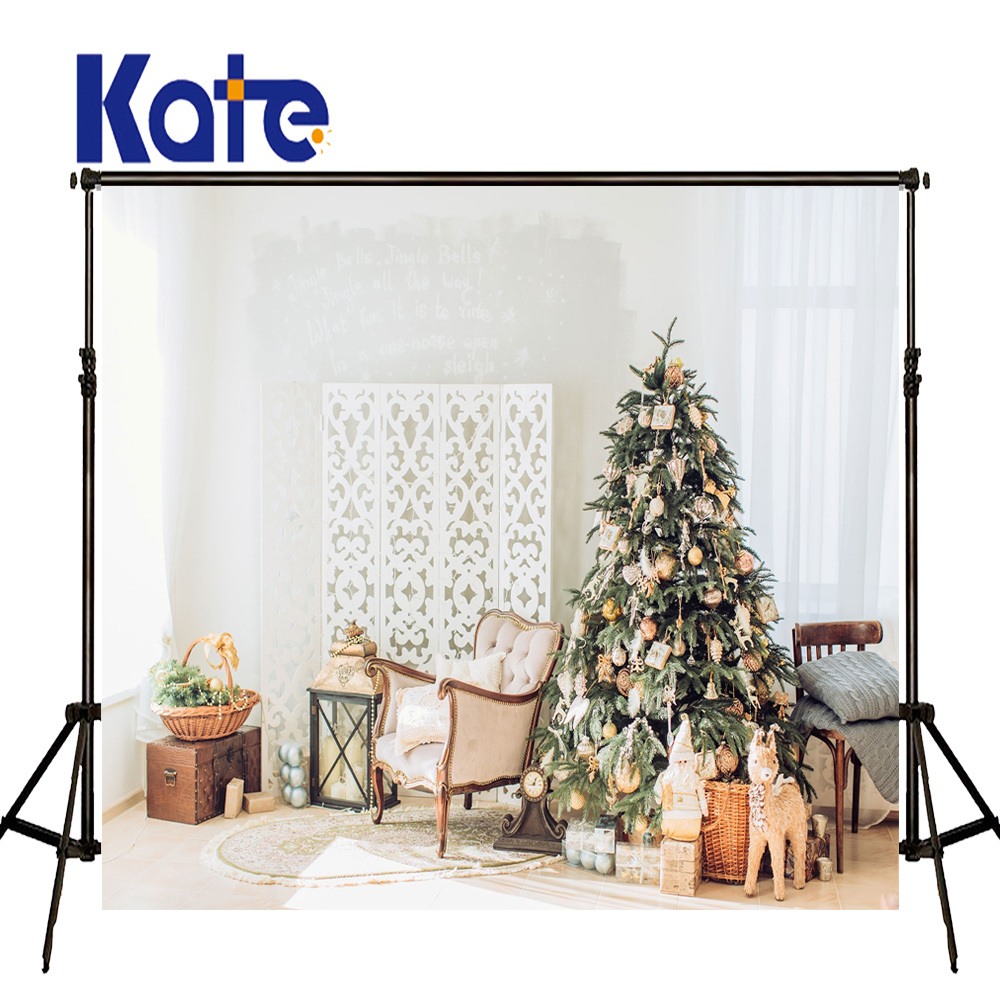 KATE Photo Background Christmas Photo Backdrop Arvore De Natal Backdrops White Brick Wall and Curtain Backdrops Kerst Decoratie kate christmas backdrop photography brick wall white bear tree box background white floor for children photo studio background