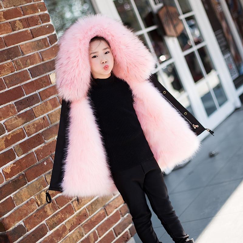 Filles garçons veste de fourrure Parkas d'hiver bambins vêtements d'extérieur en fausse fourrure de renard manteau pour filles noir bébé à capuche vêtements TZ323
