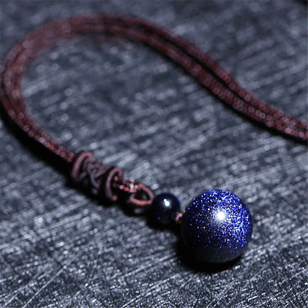 Wholesale Universe Galaxy Pendulum Natural Blue Sandstone Ball Pendant Necklace 8-18mm Transfer Luck Beads Men or Women Jewelry