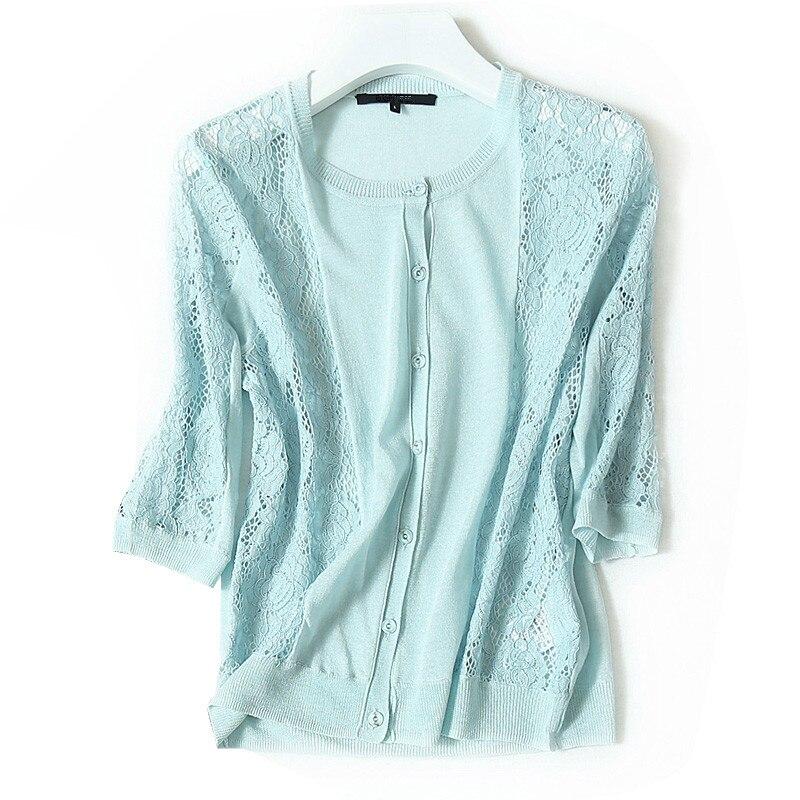 Mélange de lin tricot femmes printemps automne mode mince cardigan chandail manteau demi manches dentelle épissé M/L