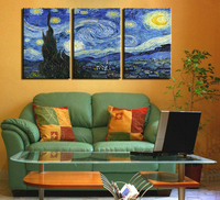 3 Pcs Vincent Van Gogh STARRY NIGHT C 1889 Art Wall Picture Room Canvas Print Modern