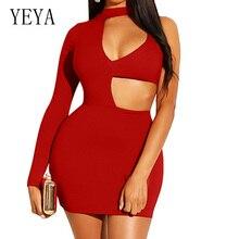 YEYA Sexy Hollow Out One Shoulder Long Sleeve Slim Short Dress Fashion Open Back Turtleneck Dress Blue Summer Women Clothing цена