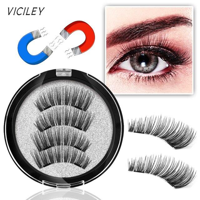 VICILEY 6D Double Magnetic Eyelashes Magnet False Eyelashes Natural Long Magnetic Cilia Posticos Handmake Fake Lashes KS02-SY