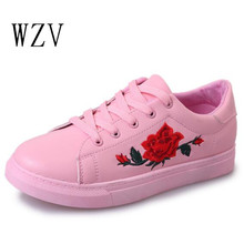 WZV Nouvelle mode femmes chaussures Rose broderie designer feminino femmes chaussures casual dames plate-forme des femmes respirant chaussures de Sport