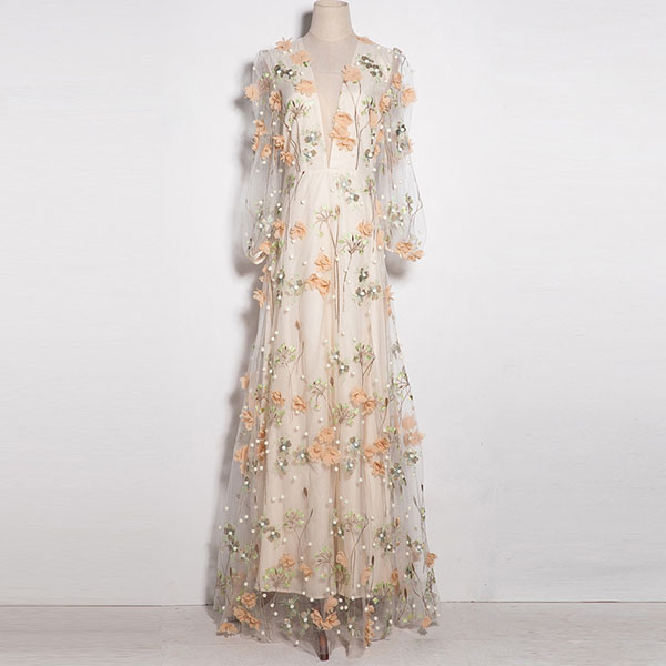 Us 128 83 12 Off Aeleseen Fashion Designer Maxi Dress 2019 New High Quality Women S Long Star Embroidered Long Party Mesh Dress Wedding In Dresses