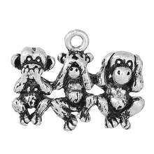 "DoreenBeads aleación de metal de Zinc dije colgantes mono plata antigua 26,0mm (1 "") x 19,0mm (6/8 "") 1 Pc 2015 nuevo(China)"