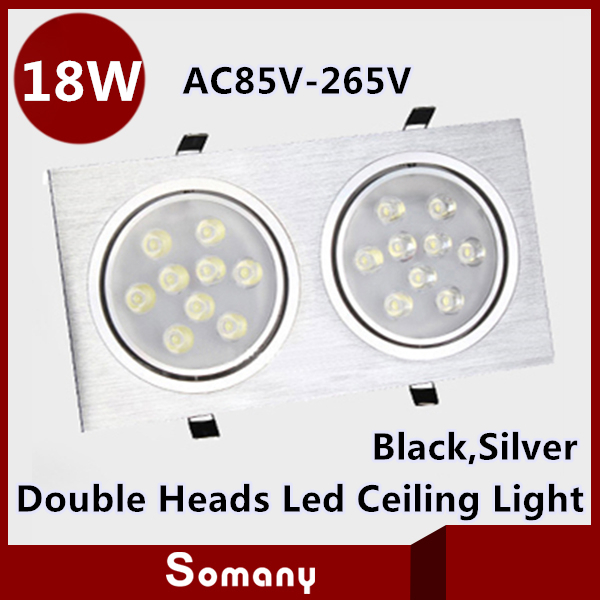 ФОТО Wholesale 4pcs 18W Double Led Ceiling Fixtures Recessed Lourve Luminaries AC85-265V CE&ROHS 2*9W Recessed Rectangle Grille Lamp