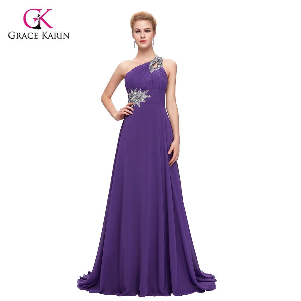 Women Elegant Cheap Long Evening Dresses 2018 Grace Karin One Shoulder Formal Evening Gowns Chiffon Purple Red abendkleider 2949
