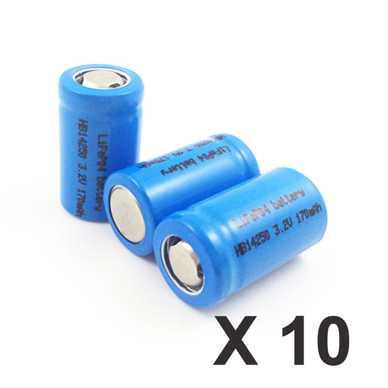 10pcs Lifepo4 IFR 3.2v <font><b>14250</b></font> <font><b>rechargeable</b></font> lithium ion battery cell 1/2AA SIZE 170MAH for camera and solar led light image