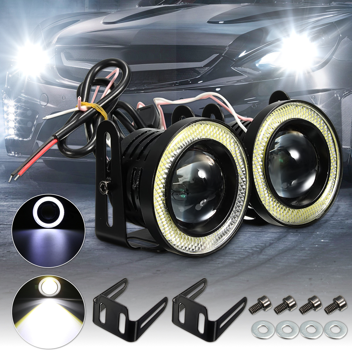 Pair 2.5 64mm Projector COB LED Car Fog Light Halo Angel Eyes Rings DRL White 12V Road Fog Lamp Daytime running light Universal universal car fog lamp 2 pcs lot daytime driving lamp 2 5 inch 64mm drl super bright cob angel eyes fog lights projector lens