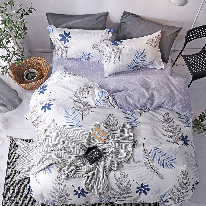 solstice home textile simple nordic bedding linen set for teen boy girls white blue plaid duvet cover pillow case flat bed sheet