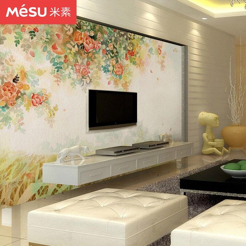 Mi Su chambre papier peint personnalisé salon Tv fond mur sans couture mur peinture pastorale paysage papier peint peint Rose