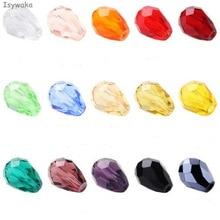 Isywaka 100pcs Teardrop Beads Austria Crystal Beads Waterdrop Beads Loose Spacer Bead for DIY Jewelry Making,3x5mm,U Pick Colors