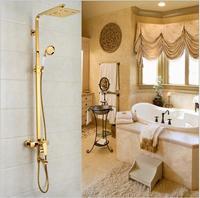 Dofaso Luxury antique brass shower head shower faucet gold brass shower taps villa golden bath shower with all cooper