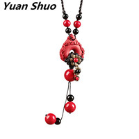 Chinese style sweater chain long red cinnabar accessories wild autumn and winter retro pendant national wind necklace female
