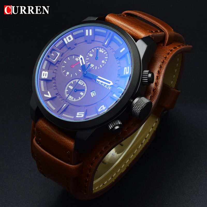 Curren Blanche Leather Quartz Military Sports Man Watch