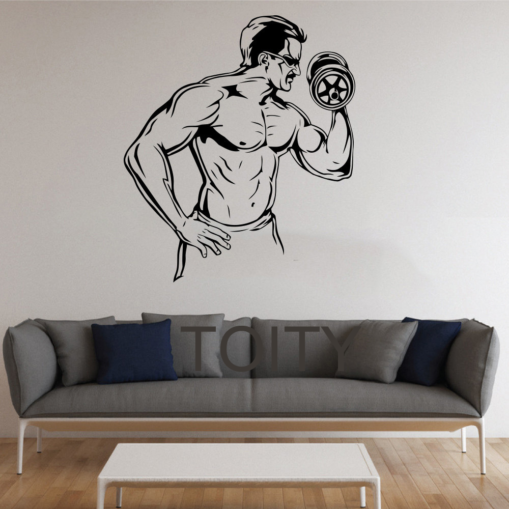 Sticker gym wall - Bodybuilder Wall Stickers Gym Vinyl Decals Home Room Interior Design Art Murals Teen Decor China