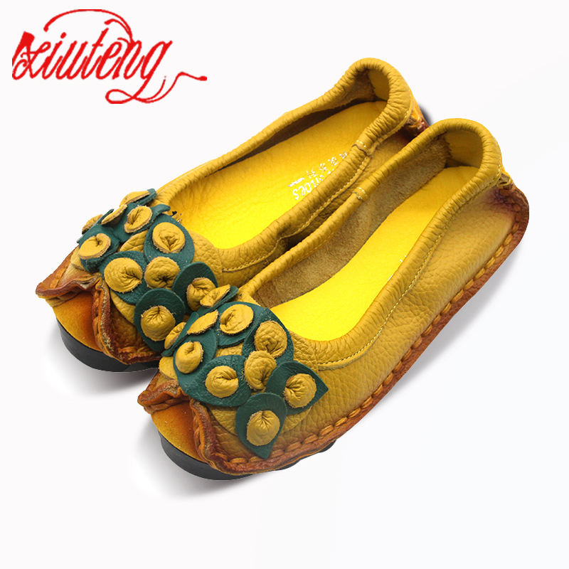 Handmade Genuine Leather Soft Soled Shoes National Wind Leather Flats Shoes For Women Casual Female Flats Lady Round Toe Shoes new brand autumn women metal flat shoes casual lady slip on flats soft soled natual leather pointed toe shoes comfort female