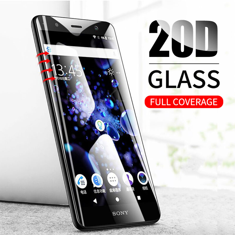 20D Tempered Glass For Sony Xperia XA XA1 XA2 Ultra X Compact XP XZ XZ2 XZS Curved Full Cover Screen Protector Film Rounded Edge