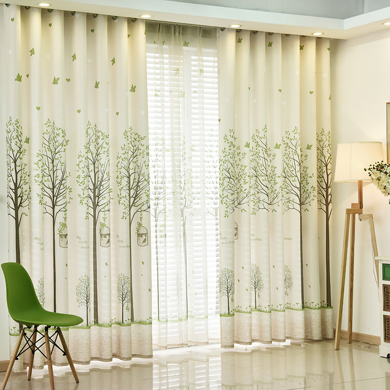 Cartoon Trees Curtains For Bedroom Cotton Linen Towel: Polyester Cotton Green Tree Embroidered Printed Curtains