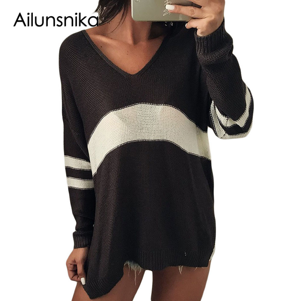 Ailunsnika 2018 Femme Pullover Autumn Winter Long Sleeve Women Sweaters Deep V-Neck Casual ladies knitted Stripe Jumper DL27724