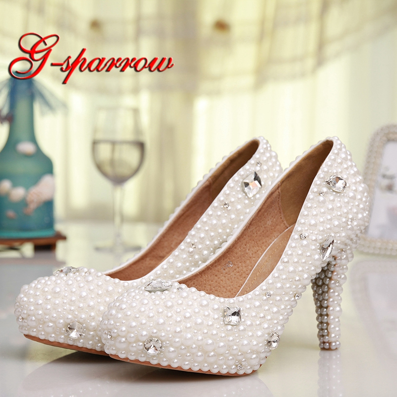 White Pearl Wedding Shoes with Crystal All Match Wedding Party Simple Pumps Women Prom High Heel Platform Thin Heel ShoesWhite Pearl Wedding Shoes with Crystal All Match Wedding Party Simple Pumps Women Prom High Heel Platform Thin Heel Shoes