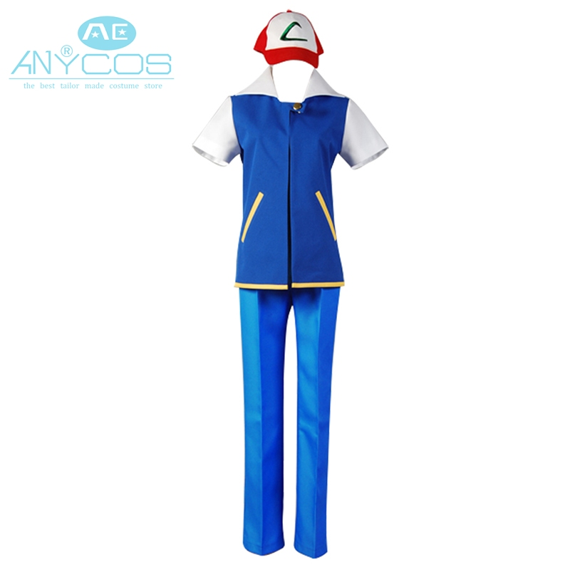 Pokemon Ash Ketchum Cosplay Costume Full Set Short Sleeve Shirt Pants
