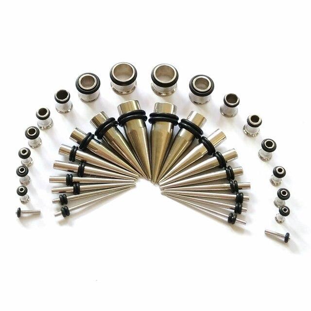 Surgical Steel Ear Taper Stretching Kit Gauge Expander Flesh Tunnel Plugs Earlobe Earring Body Piercing