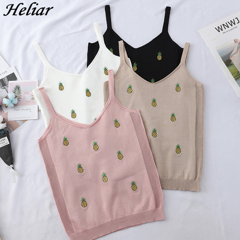 HELIAR Pineapple Embroidery V-Neck Tank Tops Camis Knitted Short Slim Elastic Crop Tops Summer Fashion Women's Clothing Camis