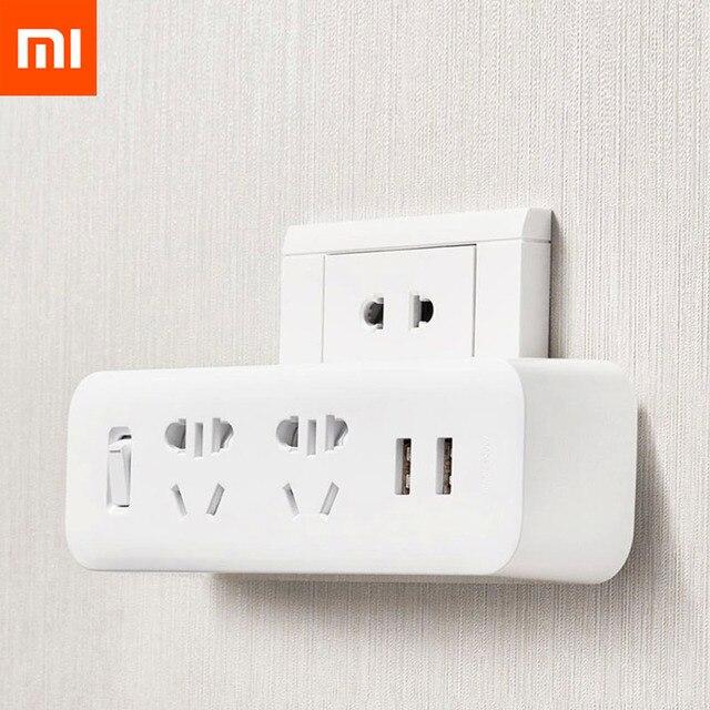شاومي Mijia قطاع الطاقة محول المحمولة التوصيل السفر محول للمنزل مكتب 5 فولت 2.1A 2 مآخذ 2 USB شحن سريع المقبس