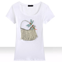 NA CHUAN 2016 Fashion Women S Short Sleeve T Shirt Hand Beading The Bags Sequined T