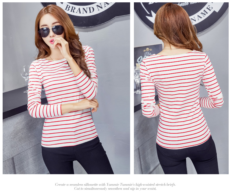 HTB1axfRpKGSBuNjSspbq6AiipXar - Soperwillton Cotton T-shirt Women New Autumn Long Sleeve O-Neck Striped Female T-Shirt White Casual Basic Classic Tops #620