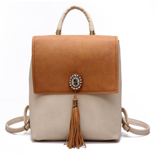 Tassel Women Small Backpack PU Leather Women's Backpack Fashion Shoulder Bag Female Backpack Cute School Bags for Girls недорого