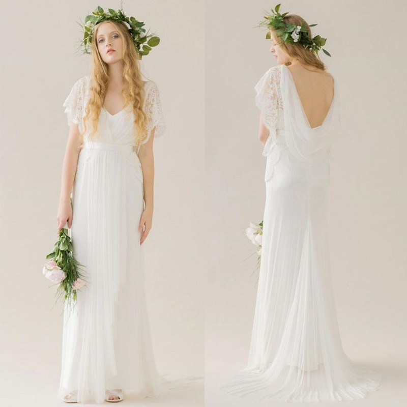 simple white bohemian wedding dresses 2016 backless cap sleeves v ...