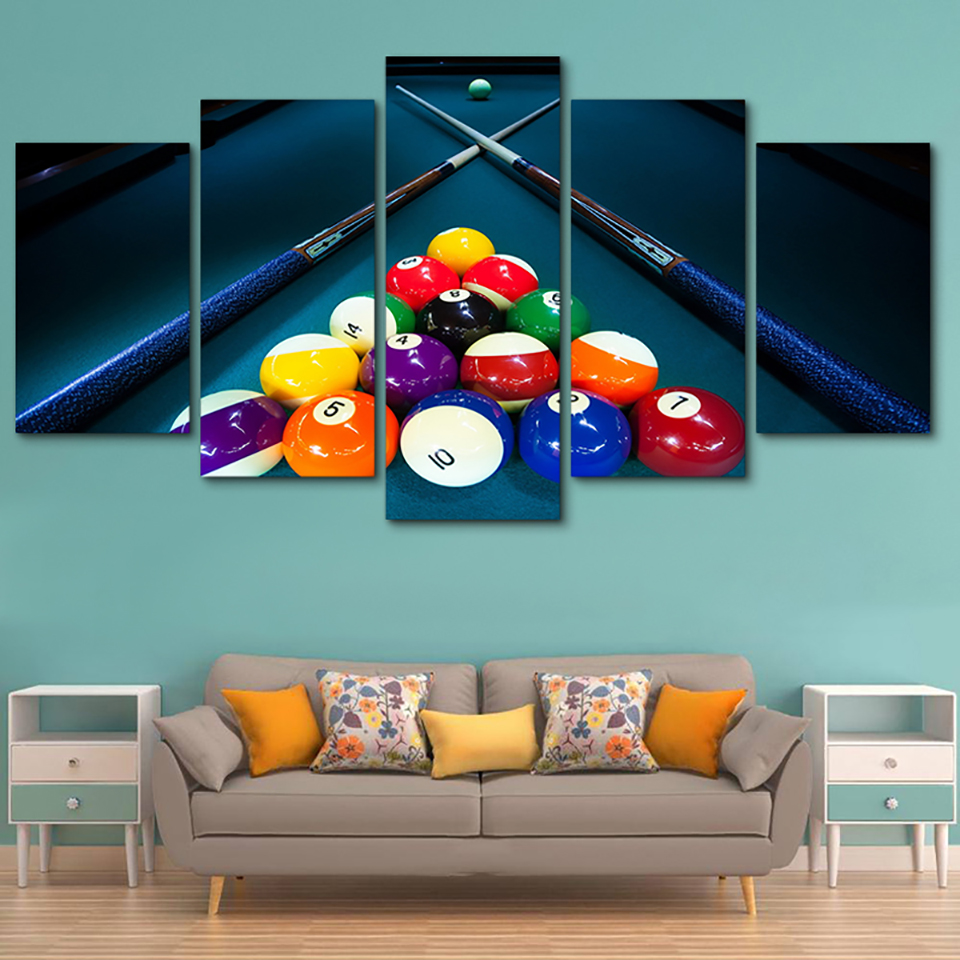 Wall Art Modular Poster Home Decor HD Printed Modern Canvas Living Room 5 Panel Sports Color Billiards Frame Pictures Painting
